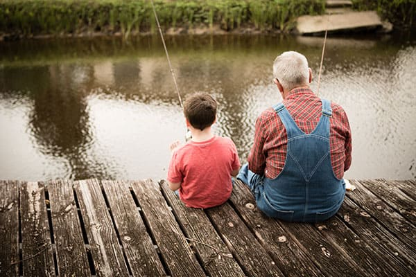 Grandparents Rights - Grandfather with grandson fishing
